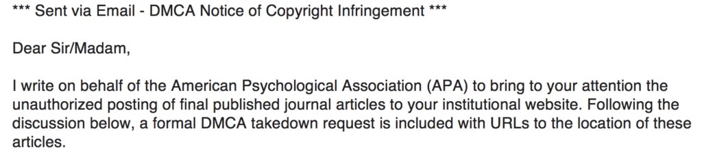 Now We All Sign Agreements With The APA When They Decide To Publish Our Papers That Cannot Put Own In Final Layout Online